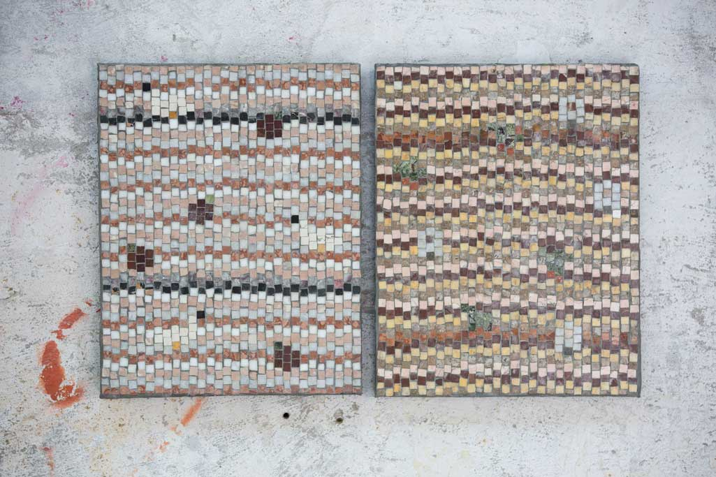 two paintings made of mosaic